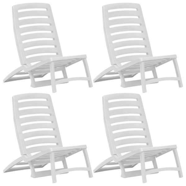 vidaXL Scaun de plajă pliant, 4 buc., alb, plastic