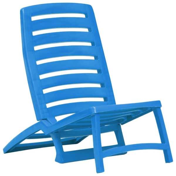 Scaun de plajă pliant, 4 buc., albastru, plastic
