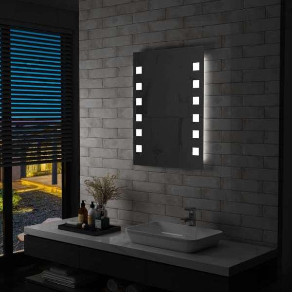 vidaXL Oglindă cu LED de perete pentru baie, 60 x 80 cm