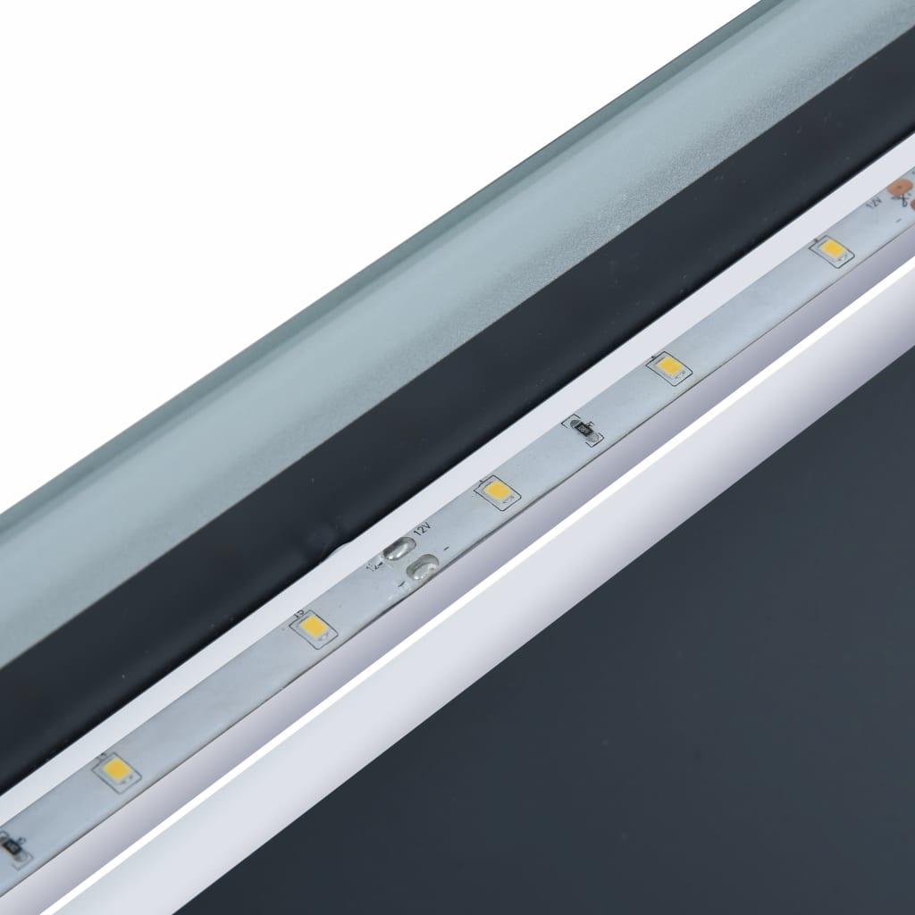 Oglindă cu LED de baie cu senzor tactil și afișaj oră, 80×60 cm