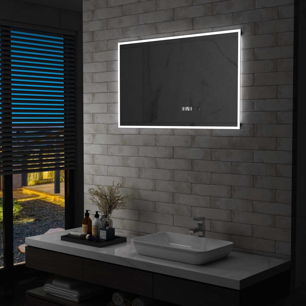 vidaXL Oglindă cu LED de baie cu senzor tactil și afișaj oră 100×60 cm