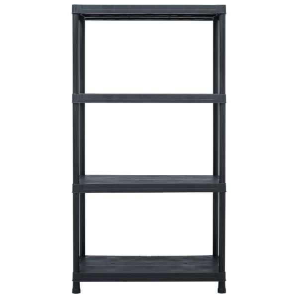 vidaXL Raft de depozitare, negru, 60 x 30 x 138 cm, plastic, 100 kg