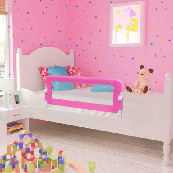 vidaXL Balustradă de pat protecție copii, 2 buc., roz, 102 x 42 cm