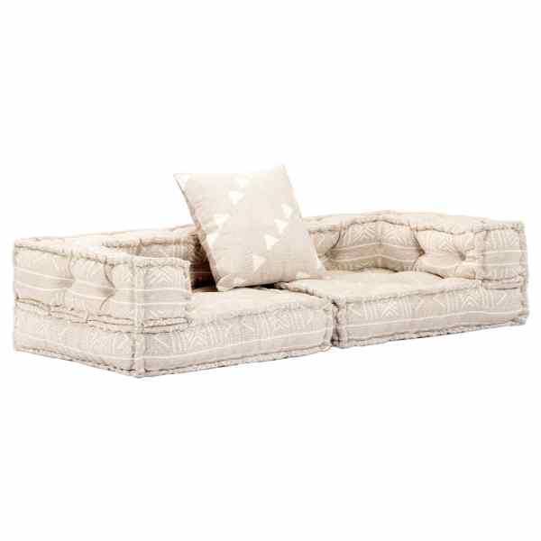 vidaXL Canapea puf modulară cu 2 locuri, bej, material textil