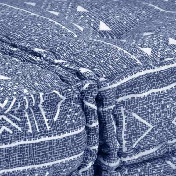 Canapea puf modulară cu 3 locuri, indigo, material textil