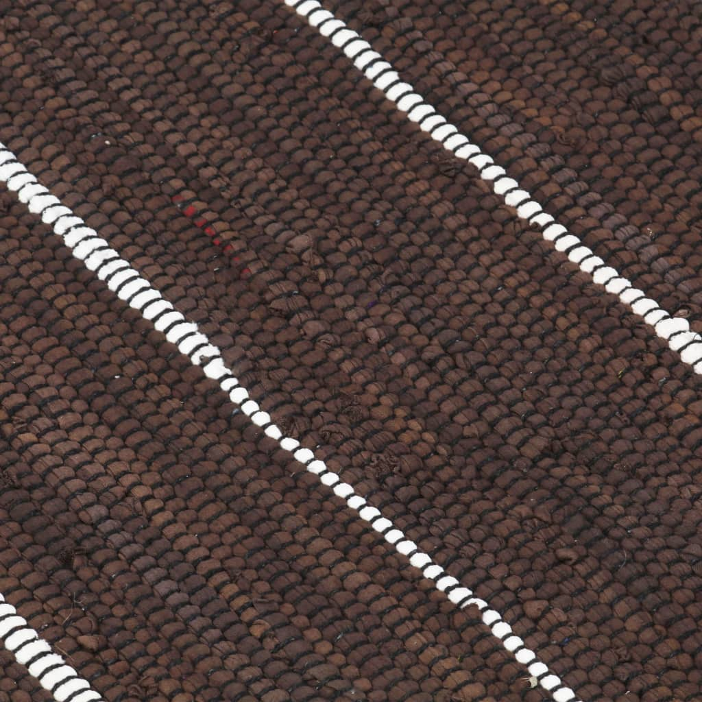 Covor Chindi țesut manual, maro, 200 x 290 cm, bumbac