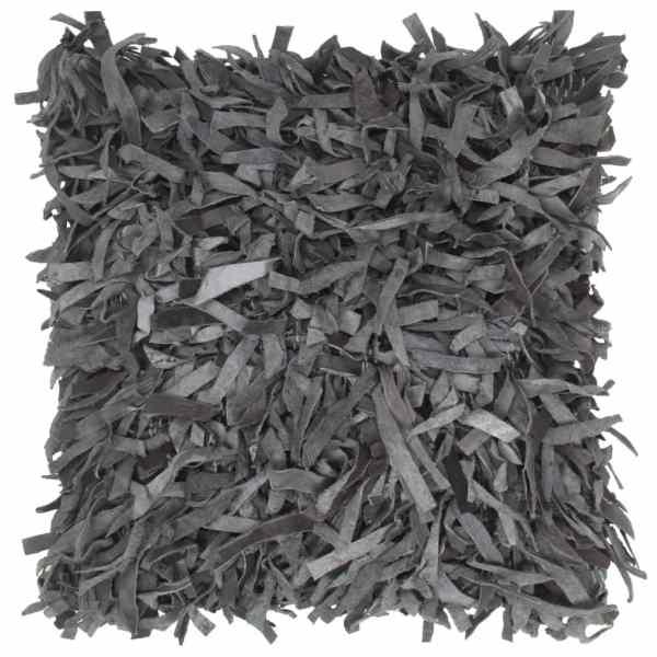 vidaXL Pernuță Shaggy, gri, 60×60 cm, piele și bumbac