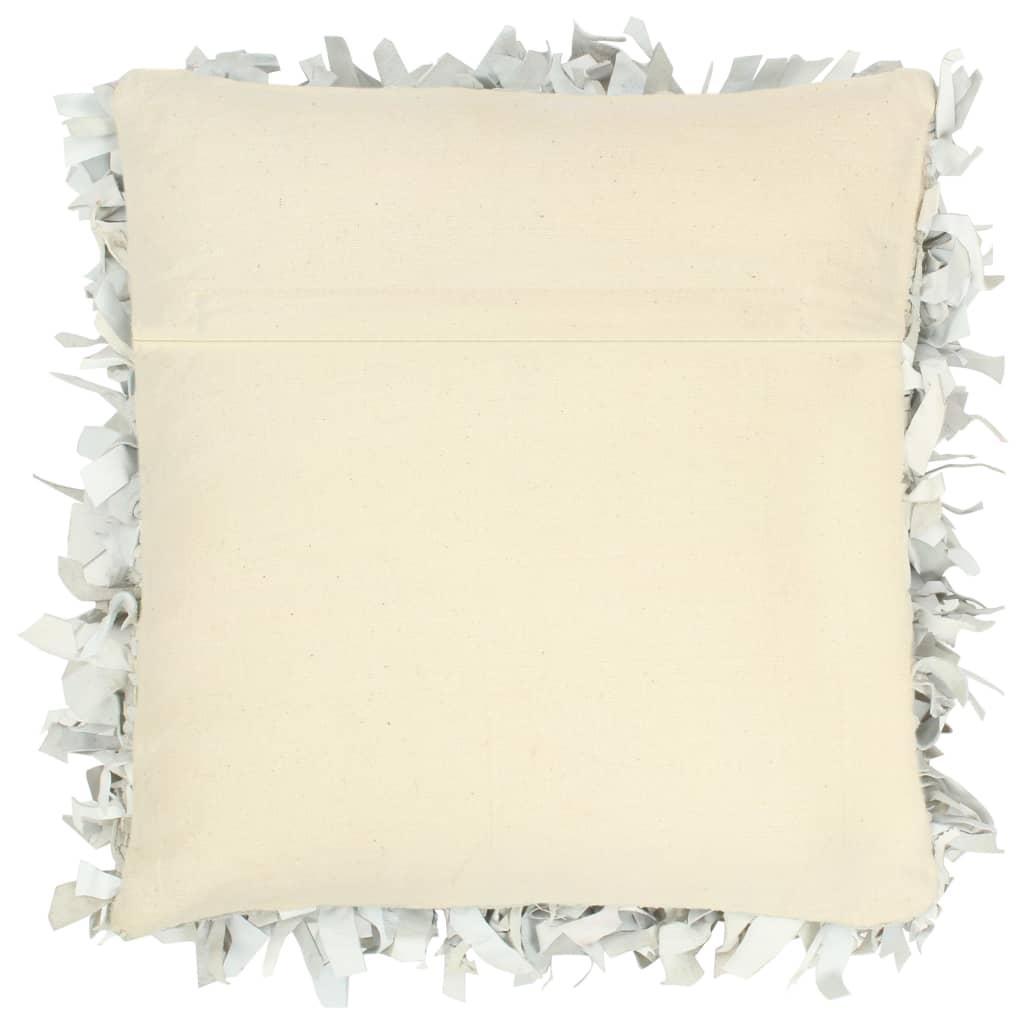 Pernuță Shaggy, gri deschis, 60×60 cm, piele și bumbac