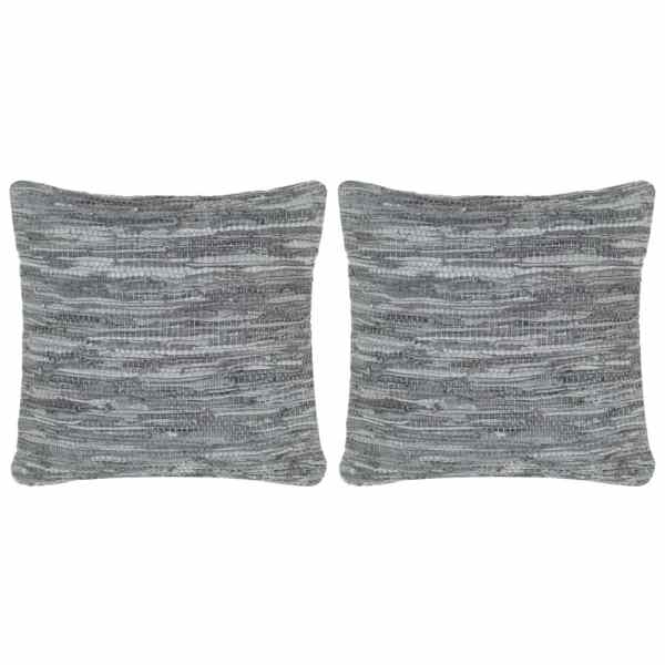 vidaXL Perne decorative, 2 buc., Chindi gri, 45×45 cm, piele & bumbac