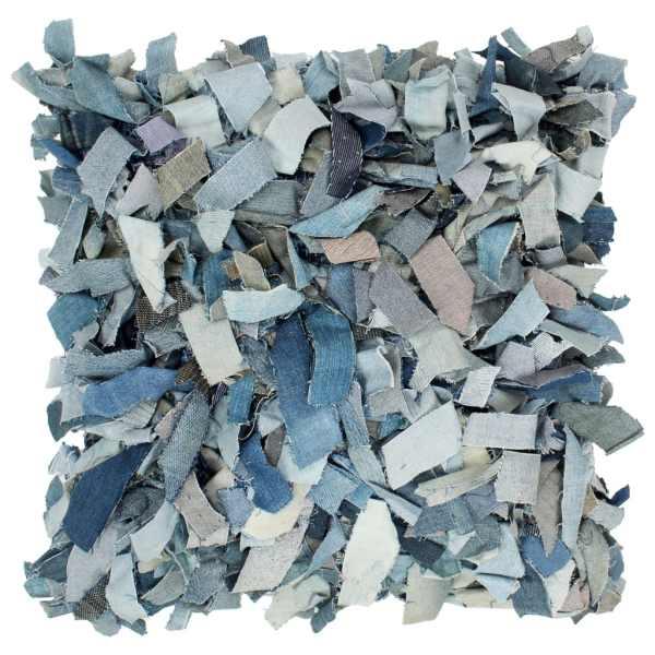 vidaXL Pernuță denim Shaggy, albastru, 60×60 cm, piele și bumbac