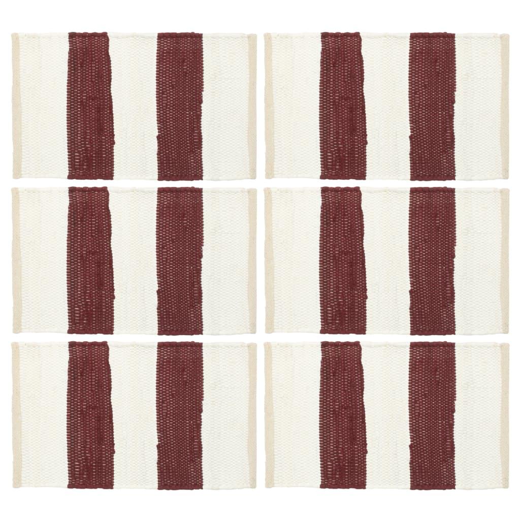 vidaXL Naproane, 6 buc., chindi, dungi grena și albe, 30 x 45 cm