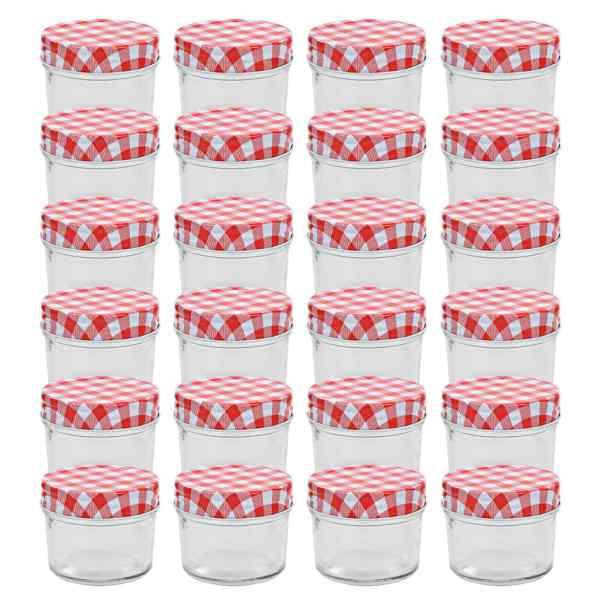 vidaXL Borcane sticlă pentru gem cu capace alb și roșu 24 buc. 110 ml