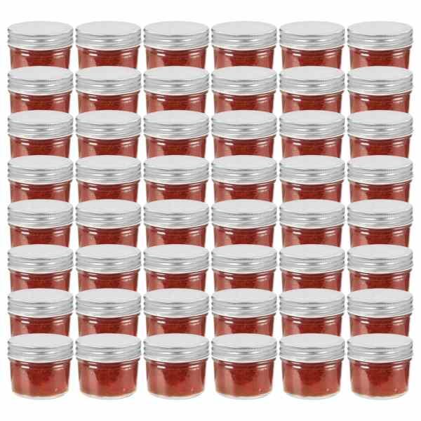 vidaXL Borcane din sticlă pentru gem, capac argintiu, 48 buc, 110 ml