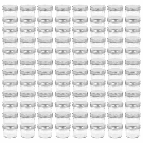 Borcane din sticlă pentru gem, capace argintii, 96 buc, 110 ml
