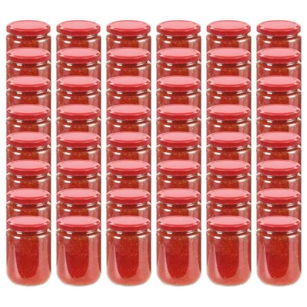 vidaXL Borcane din sticlă pentru gem, capac roșu, 48 buc., 230 ml