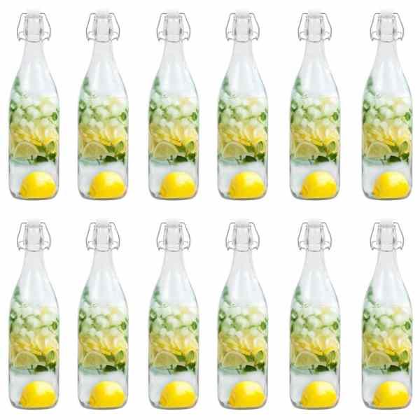 vidaXL Sticlă cu dop ermetic, 12 buc., 1 L