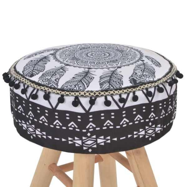 vidaXL Taburet, alb și negru, material textil