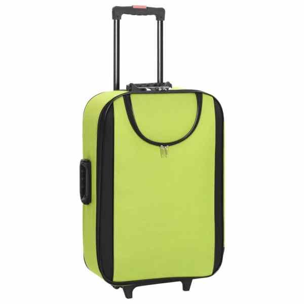 vidaXL Valize cu carcasă flexibilă 3 buc. verde material textil oxford