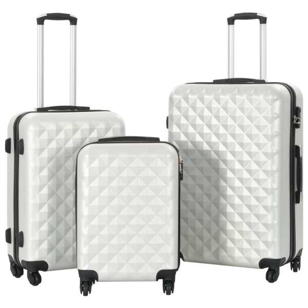 vidaXL Set valiză carcasă rigidă, 3 buc., argintiu strălucitor, ABS