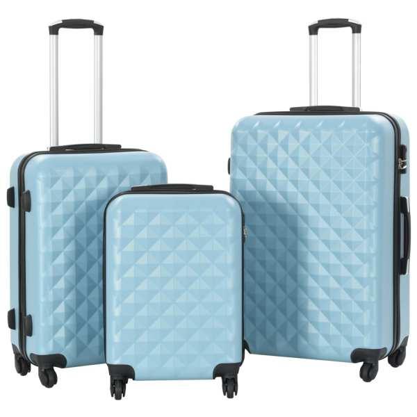 vidaXL Set valiză carcasă rigidă, 3 buc., albastru, ABS
