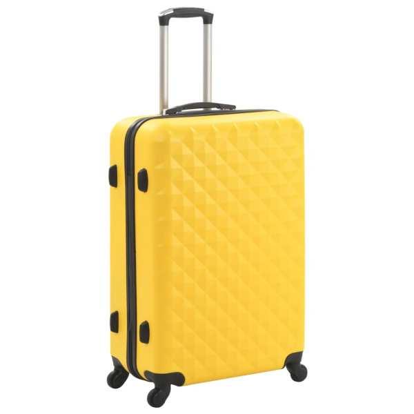 Set valiză carcasă rigidă, 3 buc., galben, ABS