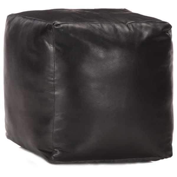 vidaXL Fotoliu puf, negru, 40 x 40 x 40 cm, piele naturală de capră