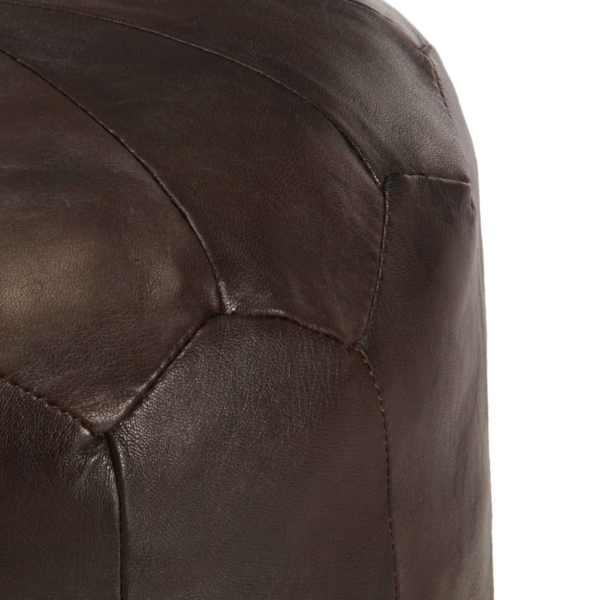Fotoliu puf, maro închis, 40 x 35 cm, piele naturală de capră