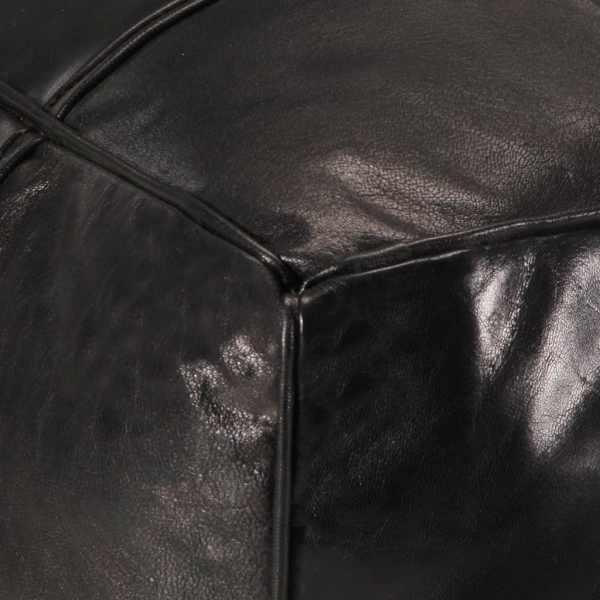 Fotoliu puf, negru, 60 x 60 x 30 cm, piele naturală de capră