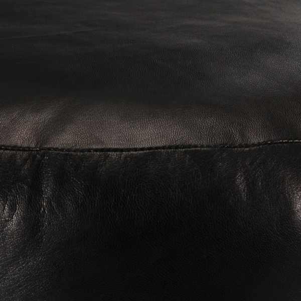 Fotoliu puf, negru, 60 x 30 cm, piele naturală de capră