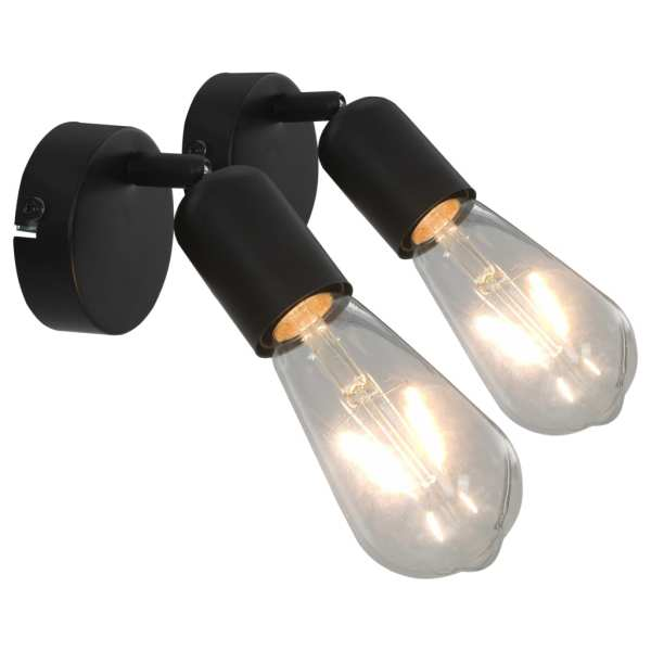 vidaXL Spoturi luminoase cu becuri filament, 2 buc., negru, 2 W, E27