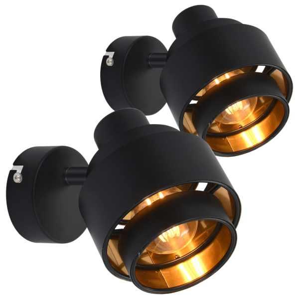 vidaXL Spoturi luminoase, 2 buc., negru, E14