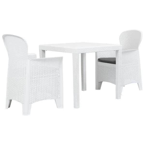 vidaXL Set mobilier bistro, 3 piese, alb, plastic, aspect ratan
