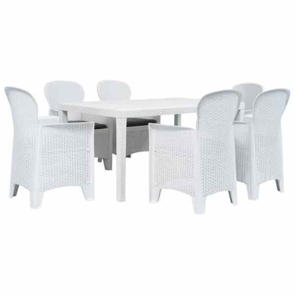 vidaXL Set mobilier de exterior, 7 piese, alb, plastic, aspect ratan