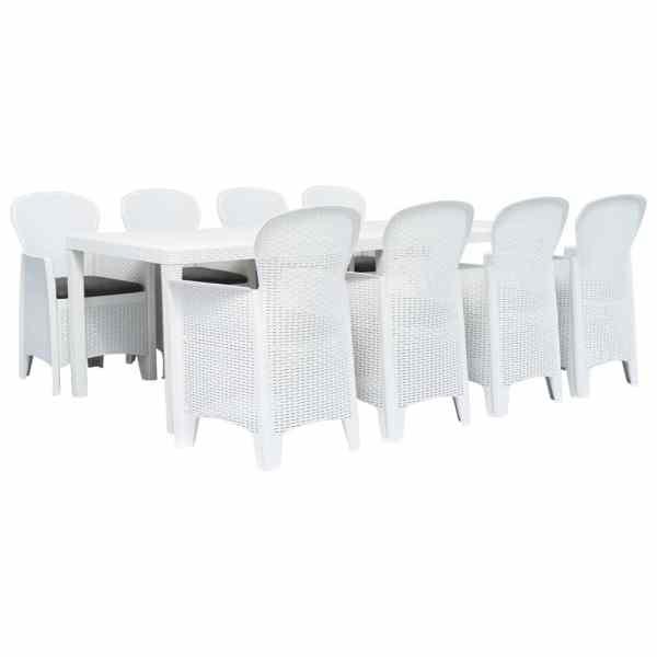 vidaXL Set mobilier de exterior, 9 piese, alb, plastic, aspect ratan