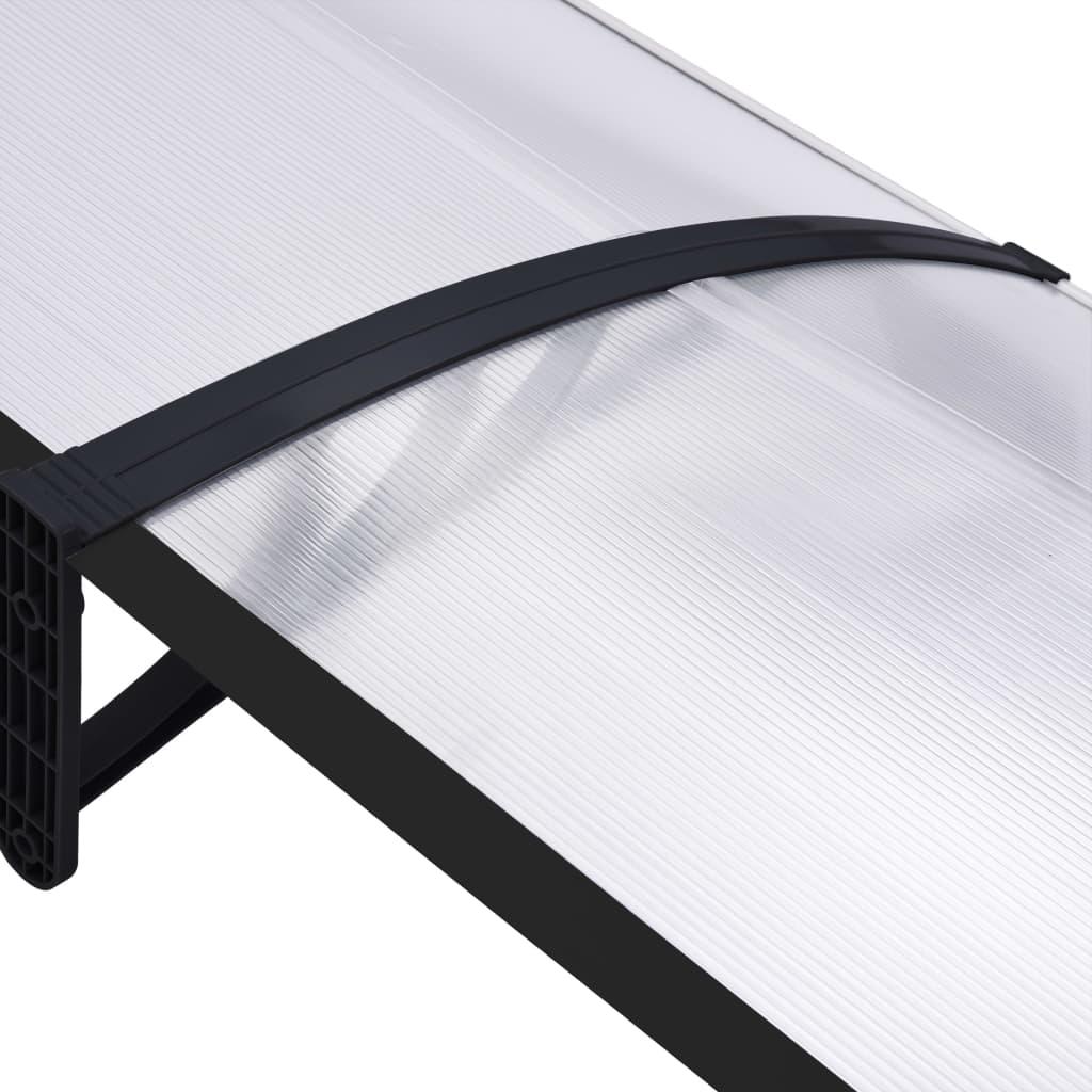 Copertină de ușă, negru și transparent, 200 x 80 cm, PC
