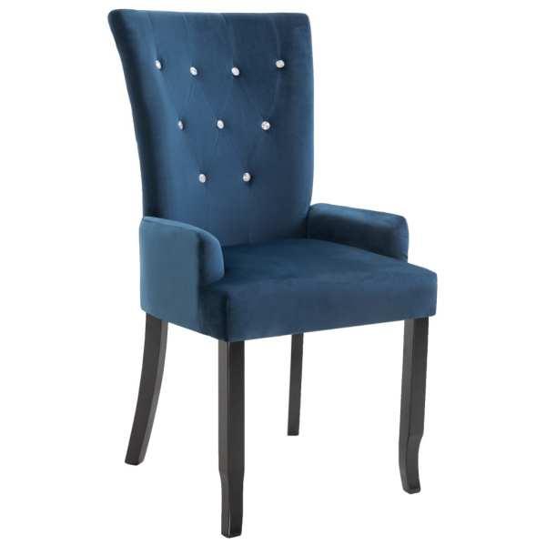 Scaun de bucătărie cu brațe, albastru închis, catifea