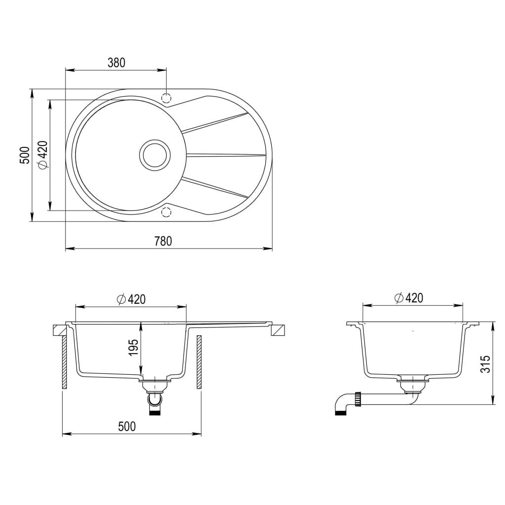 Chiuvetă de bucătărie din granit, alb, un bazin, oval