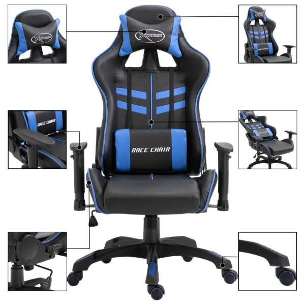 Scaun pentru jocuri, albastru, piele ecologică
