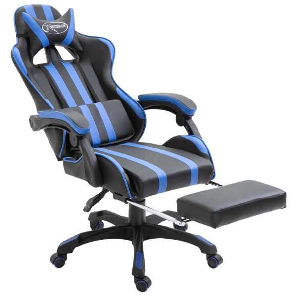 Scaun jocuri cu suport picioare, albastru, piele ecologică