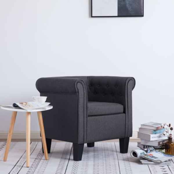 vidaXL Fotoliu cu pernă, gri închis, material textil
