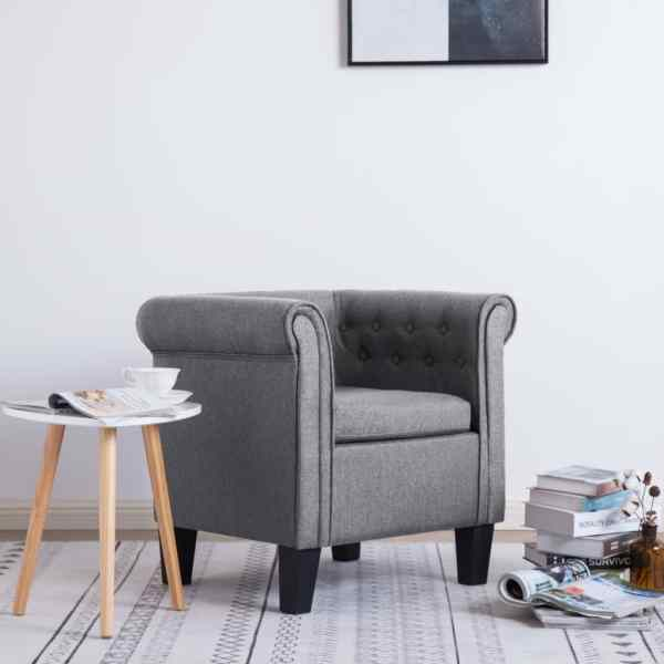vidaXL Fotoliu cu pernă, gri deschis, material textil