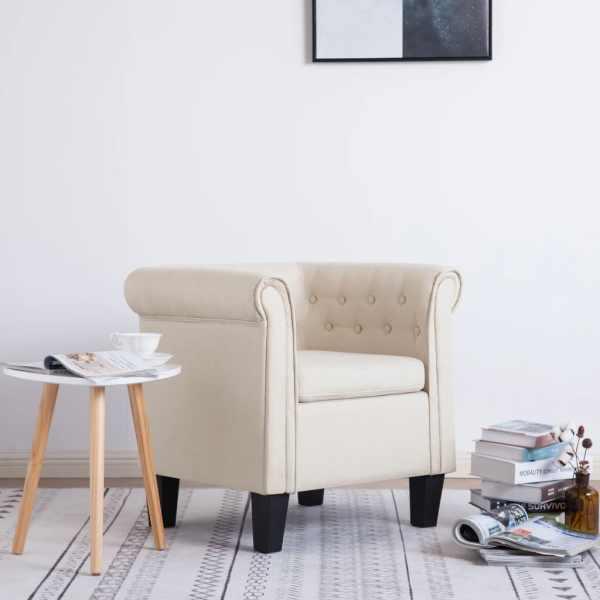 vidaXL Fotoliu cu pernă, crem, material textil