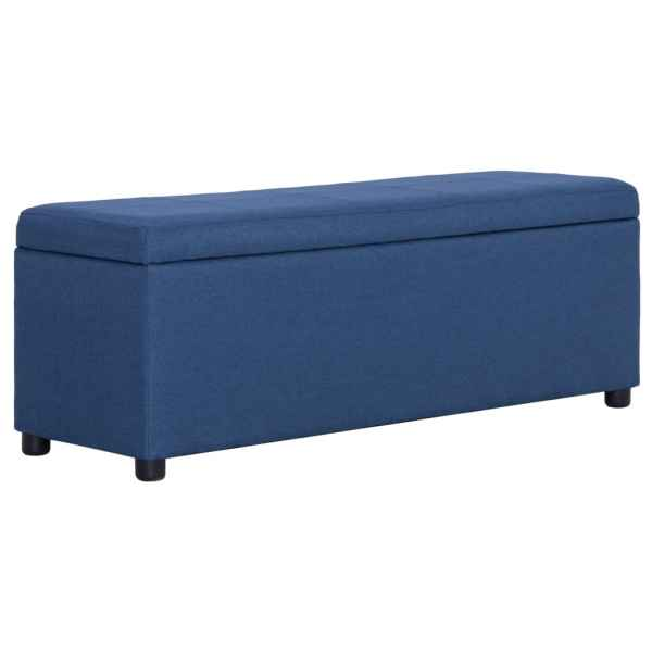 vidaXL Bancă cu compartiment de depozitare albastru, 116 cm, poliester