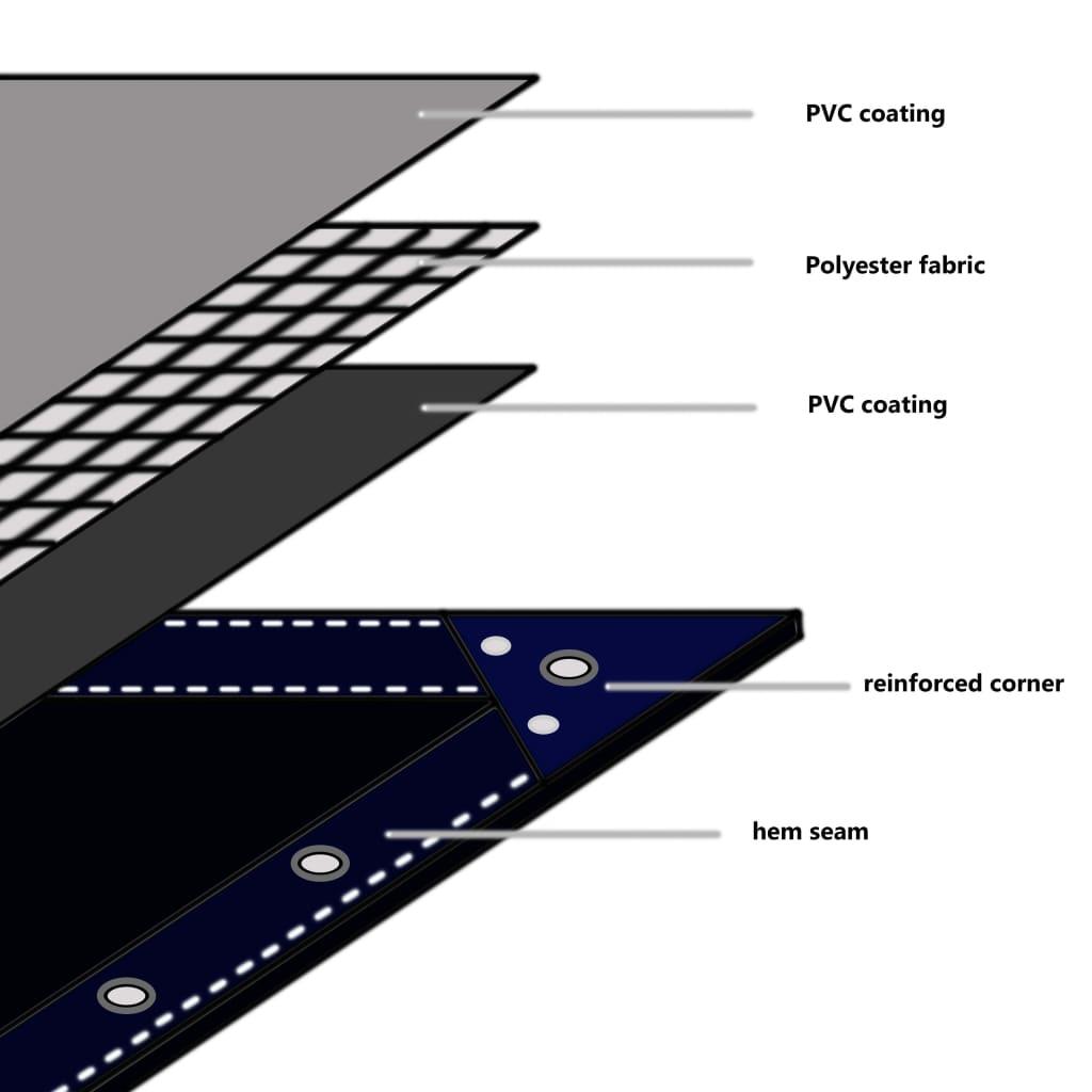 Prelată, gri, 5 x 6 m, 650 g/m²