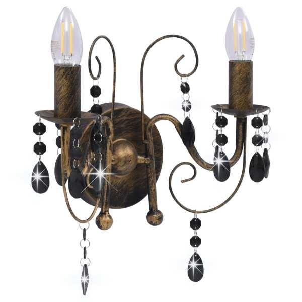 Lampă de perete cu mărgele, negru antichizat, 2 becuri x E14