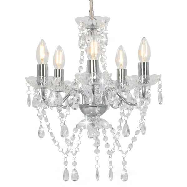 vidaXL Candelabru cu mărgele de cristal, argintiu, rotund, 5 x E14
