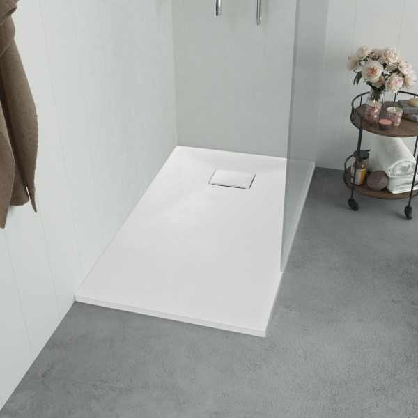 vidaXL Cădiță de duș, alb, 100 x 80 cm, SMC
