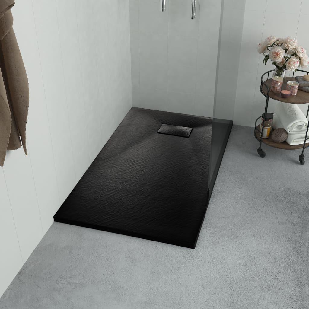 vidaXL Cădița de duș, negru, 80 x 80 cm, SMC