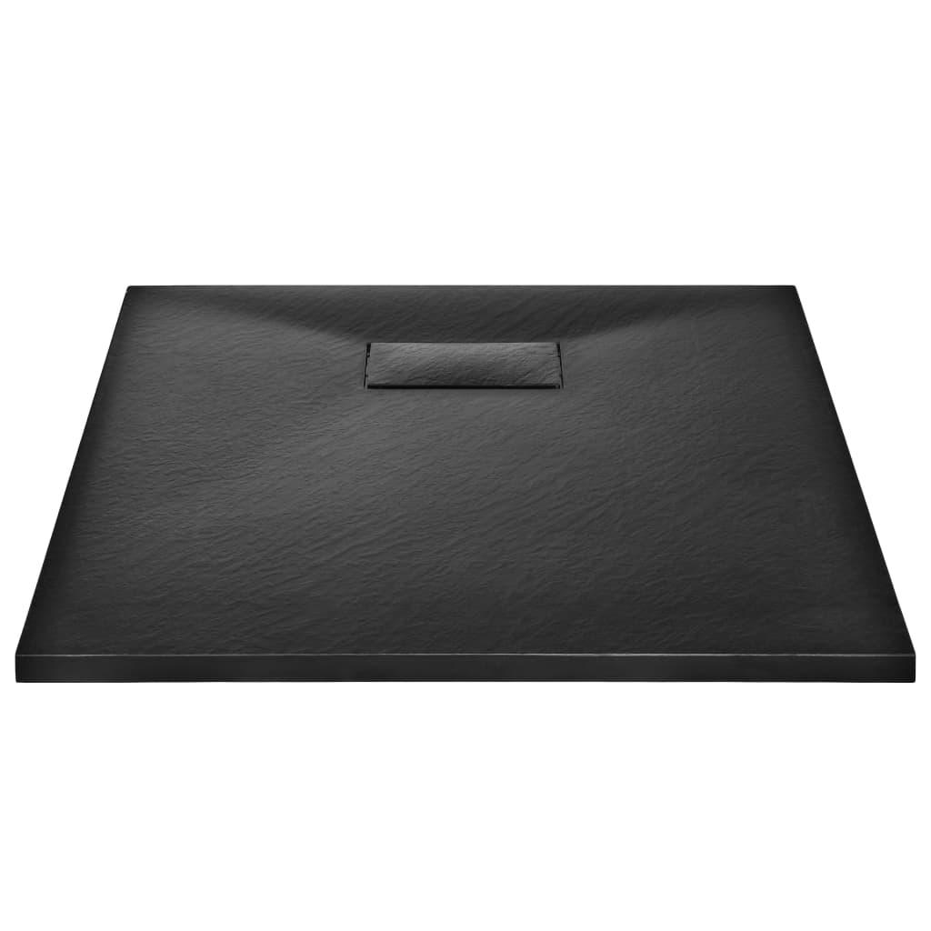 vidaXL Cădiță de duș, negru, 90 x 70 cm, SMC