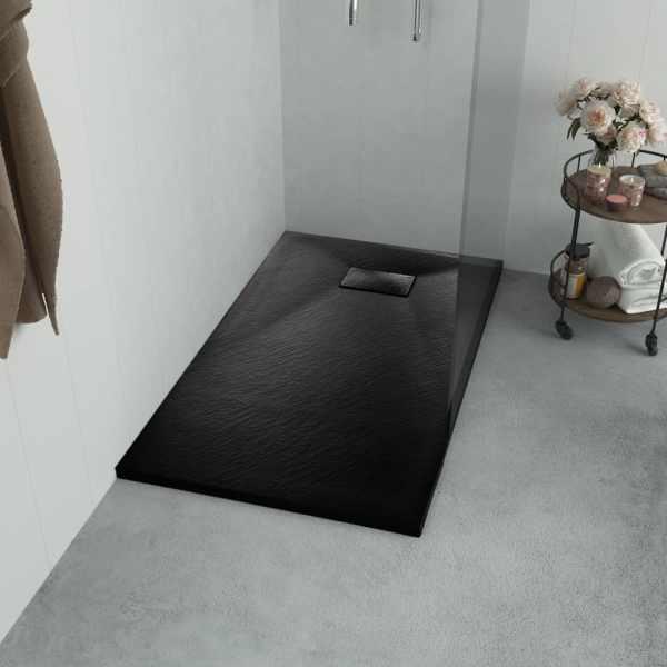 vidaXL Cădiță de duș, negru, 100 x 80 cm, SMC